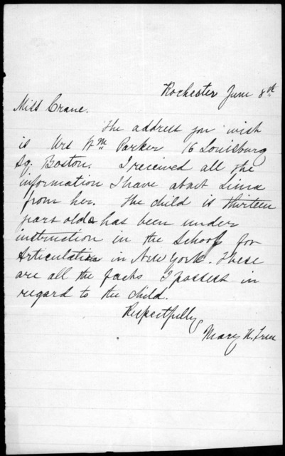 Letter from Mary True to Miss Crane, June 8