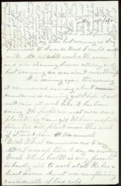 Letter from Mattie V. Thomas to Uriah W. Oblinger, May 24-25, 1868