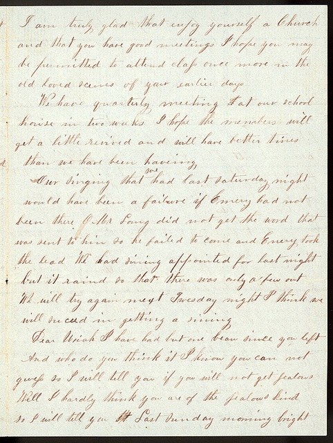 Letter from Mattie V. Thomas to Uriah W. Oblinger, October, 1866