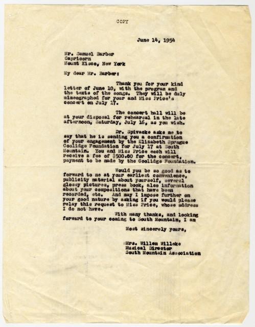 [ Letter from Mrs. William Willeke to Samuel Barber, June 14, 1954]