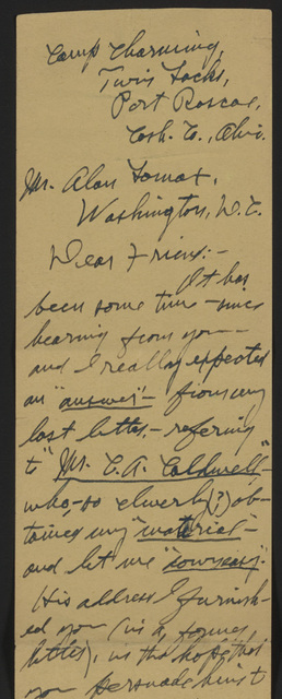 Letter from Pearl R. Nye to Alan Lomax 2