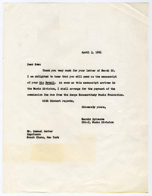 [ Letter from Samuel Barber to Harold Spivacke, April 3, 1961]