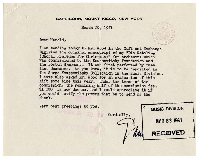 [ Letter from Samuel Barber to Harold Spivacke, March 20, 1961]