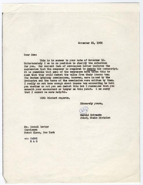 [ Letter from Samuel Barber to Harold Spivacke, November 21, 1960]