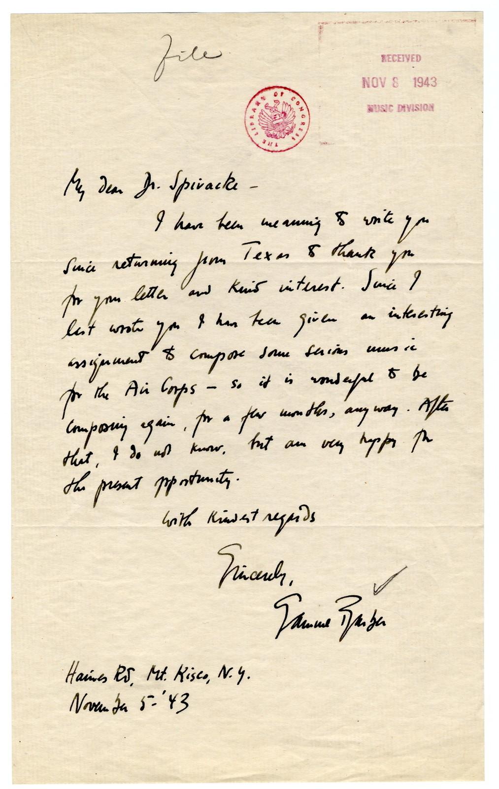 [ Letter from Samuel Barber to Harold Spivacke, November 5, 1943]