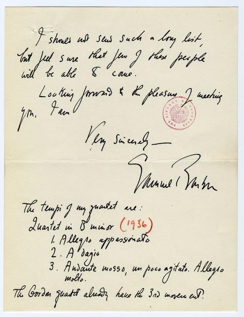 [ Letter from Samuel Barber to Oliver Strunk, April 1937?]