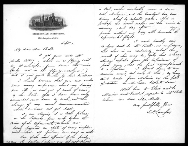 Letter from Samuel P. Langley to Mabel Hubbard Bell, September 1