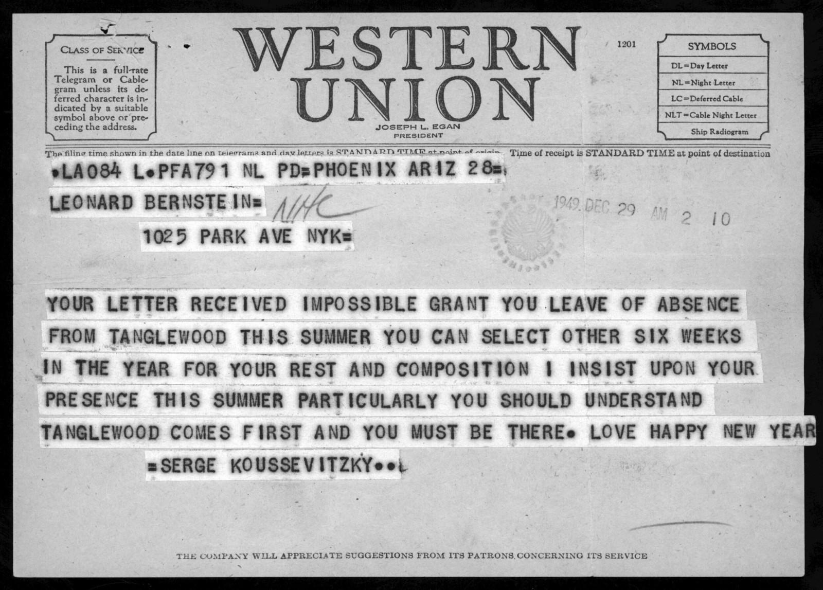Letter from Serge Koussevitzky to Leonard Bernstein, 1949