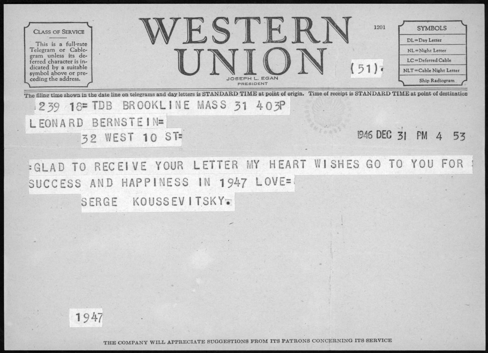 Letter from Serge Koussevitzky to Leonard Bernstein, December 31, 1946