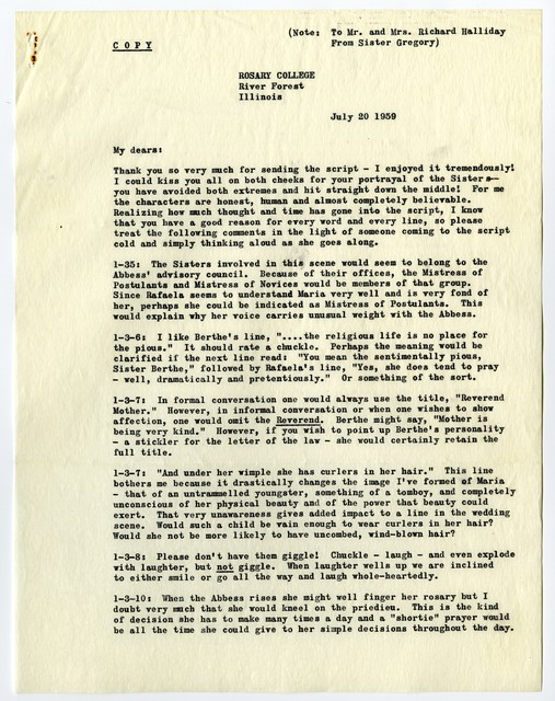 [ Letter from Sr. Gregory to Mary Martin and Richard Halliday, July 20, 1959, with memo from Richard Halliday]
