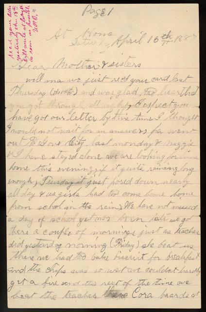 Letter from Stella Oblinger, Uriah Oblinger to Laura I. Oblinger, Sadie Oblinger, and Nettie Oblinger, April 16-17, 1887