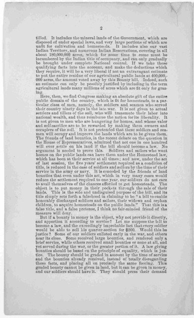 Letter from the Hon. George W. Julian The soldiers' bounty bill - a proposition to benefit speculators. Published by order of the Land reform association. New York. [n. d.].