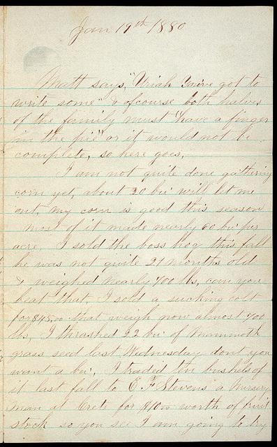 Letter from Uriah W. Oblinger and Mattie V. Oblinger to Thomas Family, January 11-19, 1880
