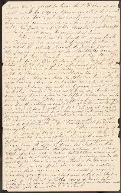 Letter from Uriah W. Oblinger to Laura I. Oblinger, Sadie Oblinger and Nettie Oblinger, August 4-5, 1887