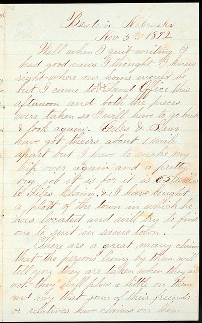 Letter from Uriah W. Oblinger to Mattie V. Oblinger and Ella Oblinger, November 3-5, 1872