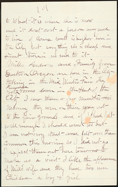 Letter from W. H. Bacon to Laura I. Oblinger, Febuary 12, 1894