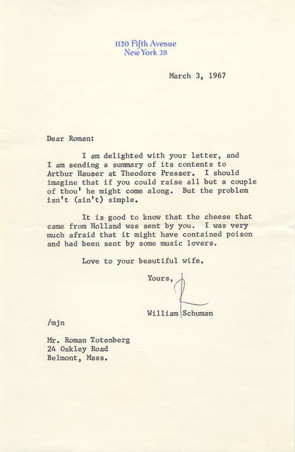 Letter from William Schuman to Roman Totenberg, March 3, 1967