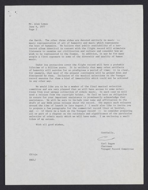 Letter to Alan Lomax Regarding the Voyager Golden Record