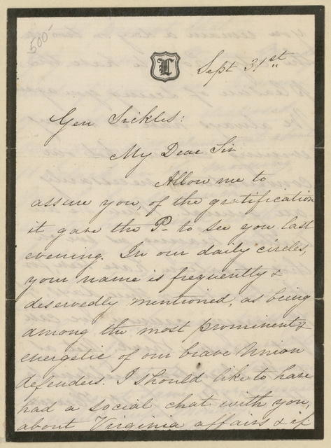 Letter to Brig. General Sickles from Mary Todd Lincoln, September 31, 1862.