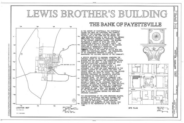 Lewis Brothers' Building, 1 South Bank, Fayetteville, Washington County, AR