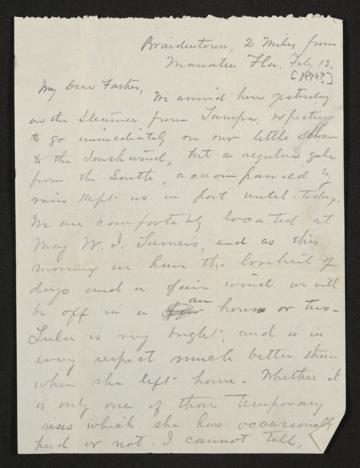 Lewis H. Machen Family Papers: Gresham Family Correspondence, 1834-1925; 1878-1879, 1870s
