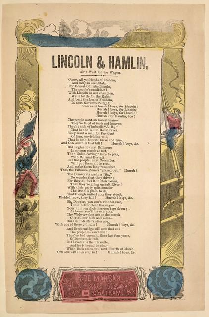Lincoln & Hamlin. Air: Wait for the wagon . H. De Marsan, Publisher, No. 60 Chatham Street, N. Y