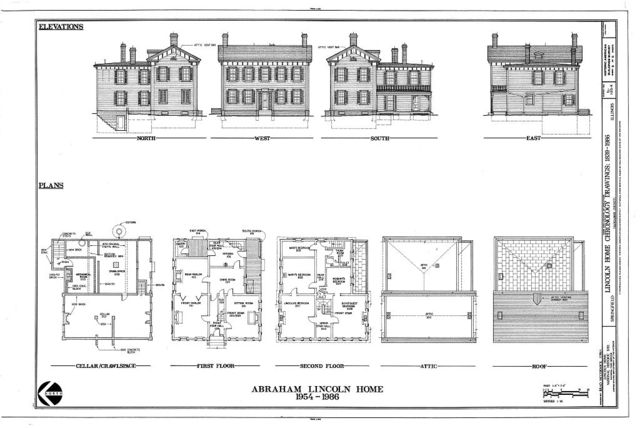 Lincoln Home Site, Chronology Drawings, 1839-1986, Jackson & Eighth Streets, Springfield, Sangamon County, IL