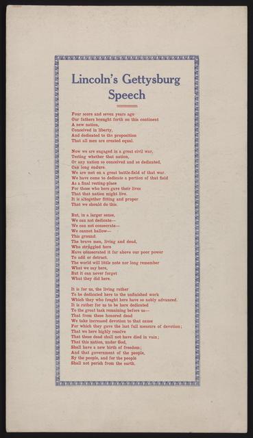 Lincoln's Gettysburg speech.