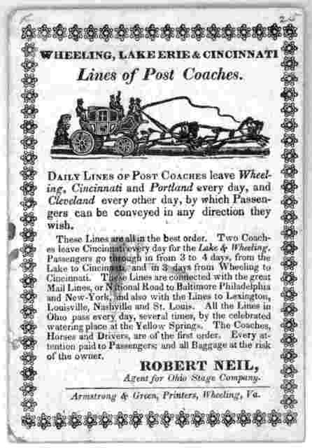 Line of post coaches ... Wheeling, Va. Armstrong & Green, printers [n. d.].