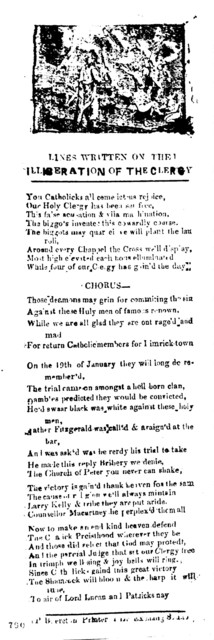 Lines written on the liberation of the clergy. P. Brereton, Printer 1, Lr. Exchange 8
