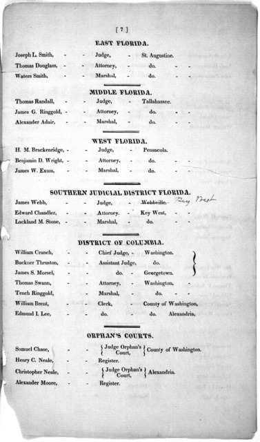 List of judges, attorneys, and marshals, in the United Stares. [s. l., s. n., 182?].