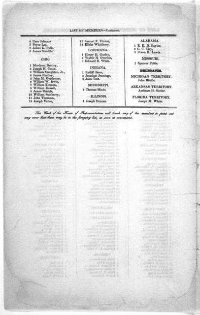 List of members of the 21st congress. [Washington, D. C., ca. 1829].