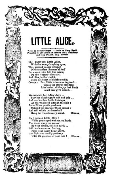 Little Alice. Words by George Cooper, music by Henry Hyatt. H. De Marsan, Publisher, 54 Chatham Street, N. Y