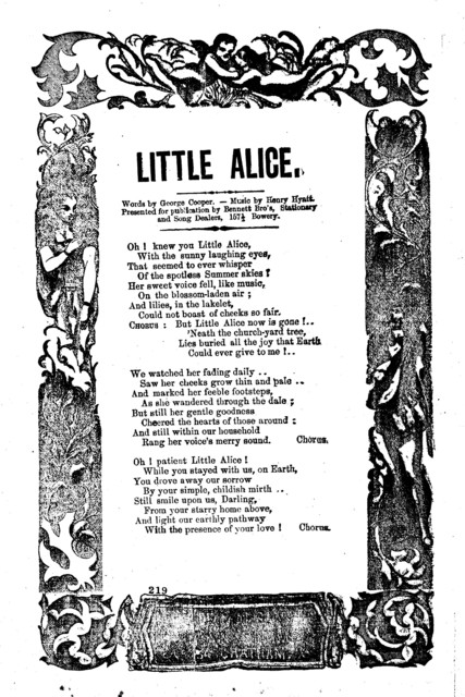 Little Alice. Words by George Cooper, music by Henry Hyatt. H. De Marsan, Publisher, No. 54 Chatham Street, N. Y