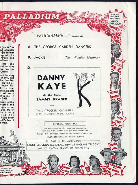 [ London Palladium program for a Danny Kaye performance. Monday, May 23rd, 1955]