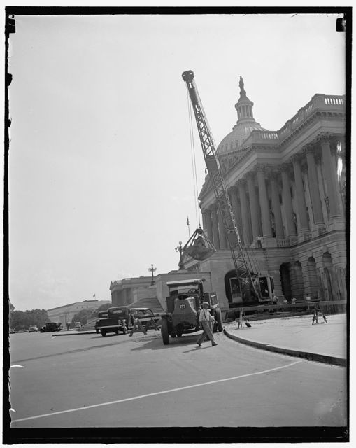 "Lost: a cold water pipe. Washington, D.C., Sept. 5. Seeking a ""lost"" water line running from the house office building through the Capitol, workmen are digging up the Capitol ground with a steam shovel. When they find the pipe, they will make a connection in order to supply chilled water for the air conditioning of the Senate office building."