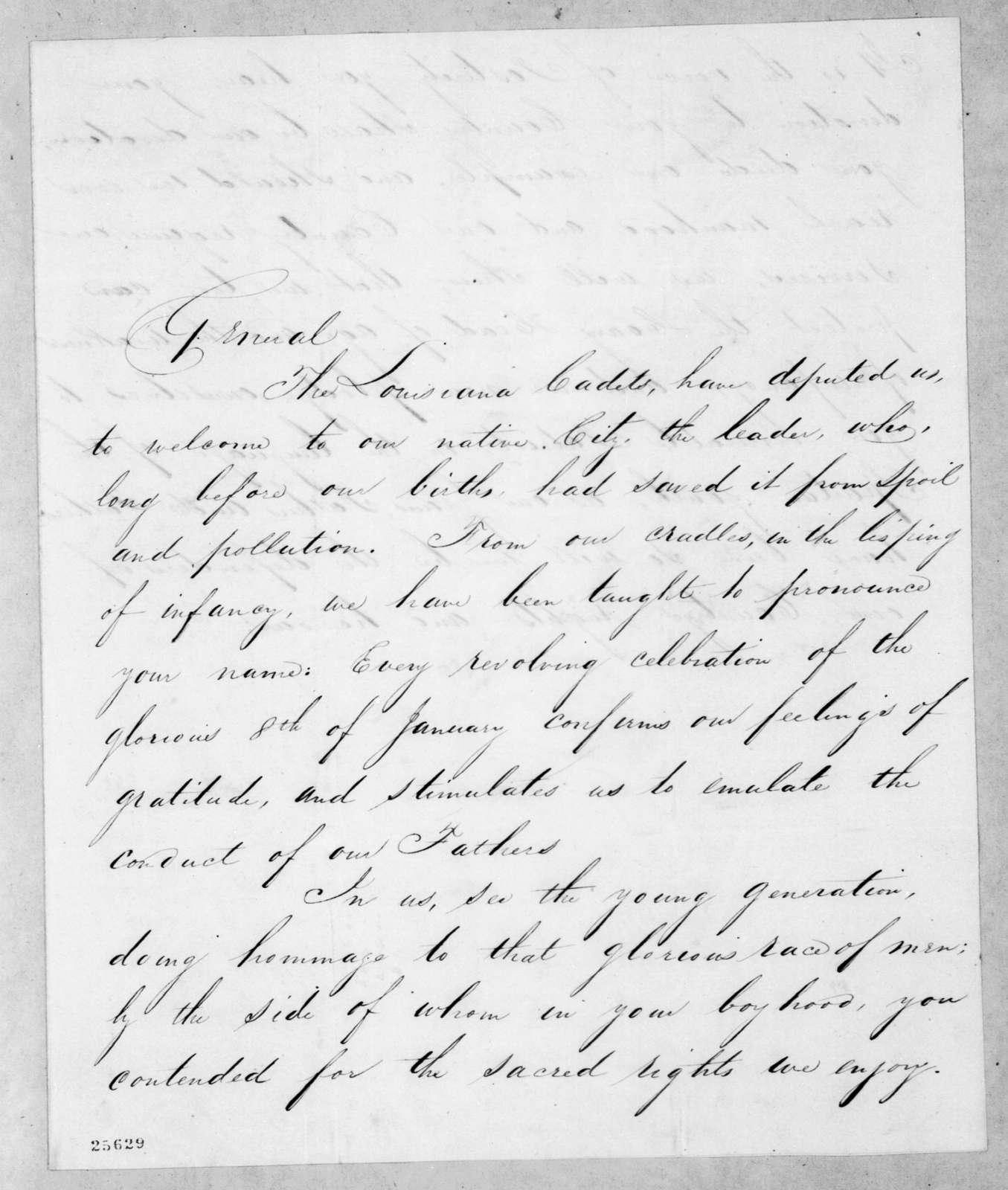 Louisiana Cadets to Andrew Jackson