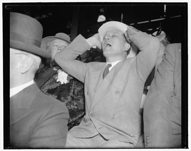 Louisiana Senator blossoms out in first straw hat and yells, 'It's a hit!' Washington, D.C., April 21. Senator Allen J. Ellender went to the ball game between the Nats and the Yankees today. He proved it was spring because he wore a panama hat and yelled like a true baseball fan