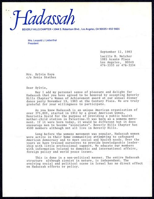 [ Lucille Melcher, Vice President, Hadassah, Beverly Hills Chapter, to Sylvia Kaye, September 12, 1983]