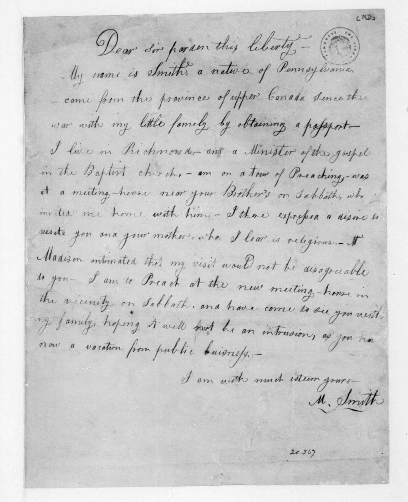 M. Smith to James Madison.