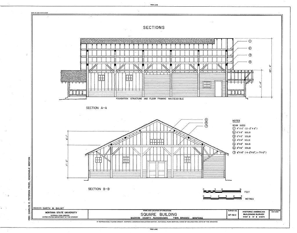 Madison County Fairgrounds, Square Building, Twin Bridges, Madison County, MT