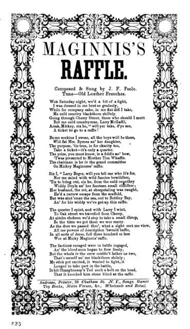 Maginnis's raffle. Composed & sung by J. F. Poole. Tune- Old leather breeches. Andrews, Printer, 38 Chatham St., N. Y