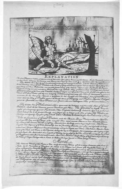 Magna Britania her colonies reduced. [Philadelphia 1765].