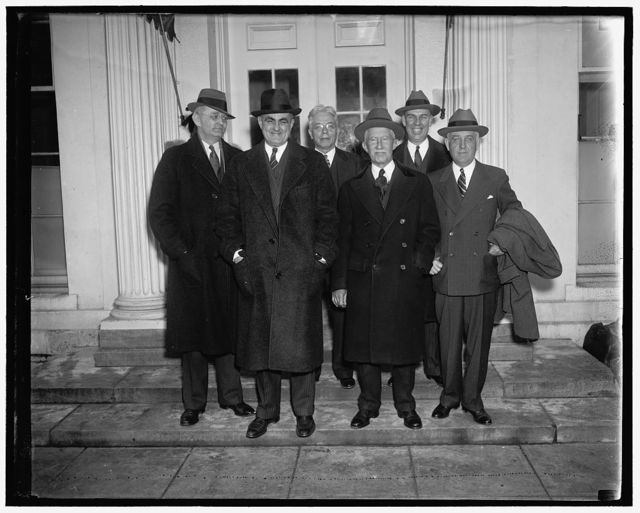 Maine goes to the White House. Washington D.C. The State of Maine's delegation in Congress was received by President Roosevelt at the White House today. Governor Barrows, who headed the party, said the visit was purely a social one. In the group, left to right: (Front Row) Gov. Lewis O. Barrows, Senator Frederick Hale, and Senator Wallace White. Back Row, left to right: Rep. J.C. Oliver, Rep. Clyde H. Smith, and Ralph O. Brewster