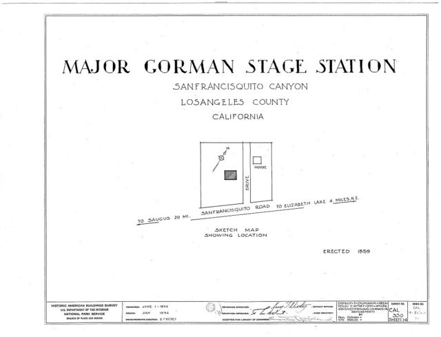 Major Gorman Stage Station, San Francisquito Road, Andrade Corner, Los Angeles County, CA