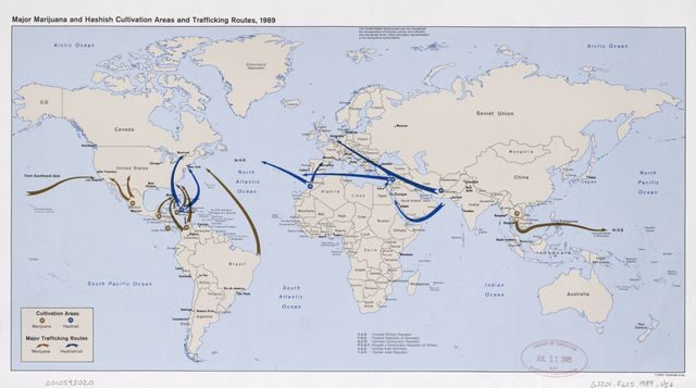Major marijuana and hashish cultivation areas and trafficking routes, 1989 : [world map].