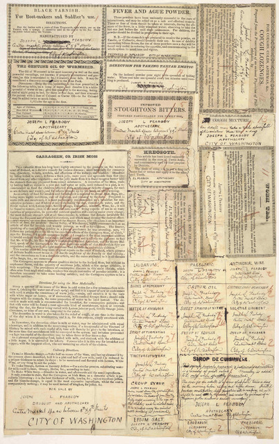 [Make up copy, prepared for the printer, of patent medicines, etc. for sale by Joseph L. Peabody. durggist and apothecary, Center Market space. City of Washington.] [n. d.].