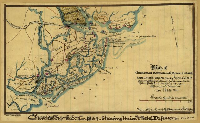 Map of Charleston Harbor with Morris Island and James, Broad, Folly, and Cole's Islds. : showing the position of the Union and Rebel forts and batteries & & November and December 1863.