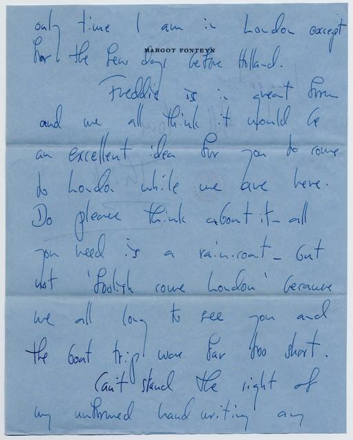 [ Margot Fonteyn to Sylvia Fine, May 14 (no year)]