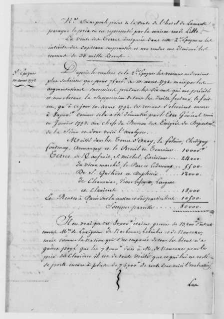 Marie Joseph Paul Yves Roch Gilbert du Motier, Marquis de Lafayette, no date, Statement of Affairs in French